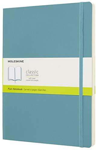 Moleskine - Cuaderno Clásico con Páginas Lisas, Tapa Blanda y Goma Elástica, Azul (Reef Blue), Tamaño Extra Grande, 192 Páginas