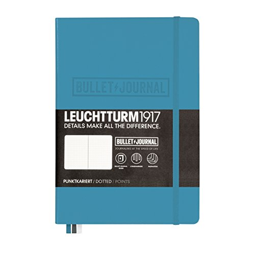 LEUCHTTURM1917 357675 Bullet Journal Libreta, Medium (A5) tapas duras, 240 páginas numeradas, puntos, azul nórdico