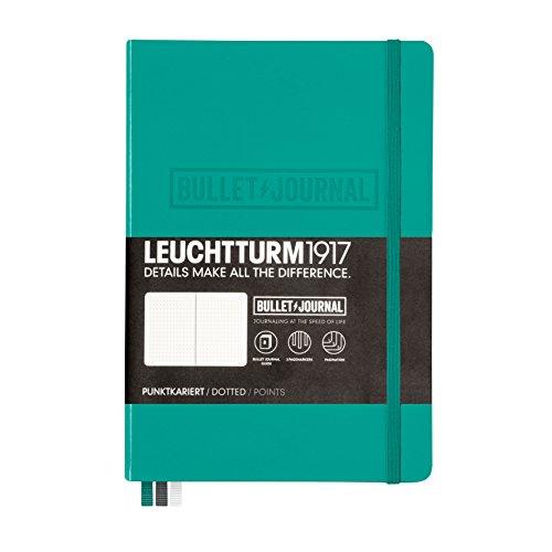 LEUCHTTURM1917 355280 Bullet Journal Libreta, Medium (A5) tapas duras, 240 páginas numeradas, puntos, esmeralda