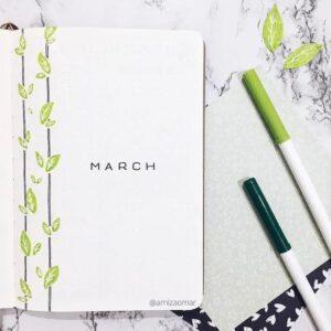 bullet journal minimalista marzo