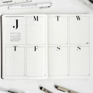 bullet journal minimalista semana