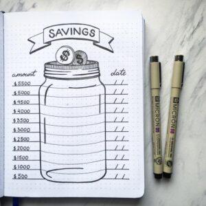 bullet journal registro de ahorro