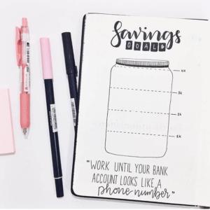 bullet journal saving goals