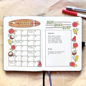 bullet journal calendario mensual 12