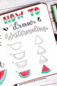 bullet journal doodles sandía