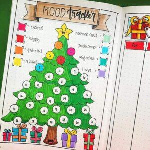 bullet journal registro de estado de ánimo árbol de navidad