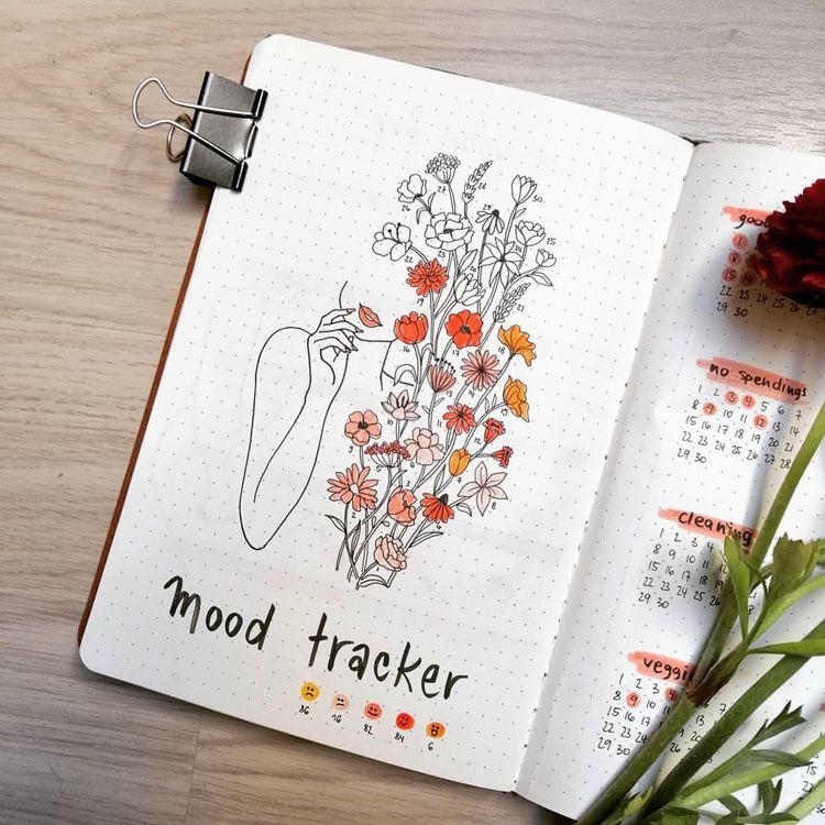 bullet journal registro de estado de ánimo floral