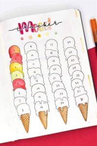 bullet journal registro de estado de ánimo helados