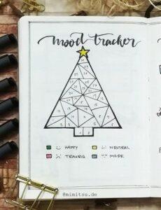 bullet journal registro de estado de ánimo navidad