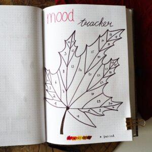 bullet journal registro de estado de ánimo otoño