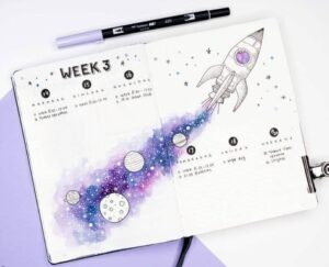 bullet journal cosmos semanal