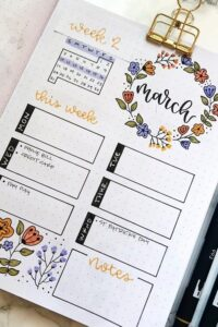 bullet journal floral semanal marzo