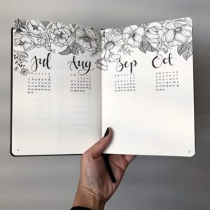 bullet journal floral mensual