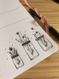 bullet journal floral doodles