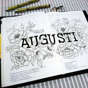 bullet journal floral portada agosto
