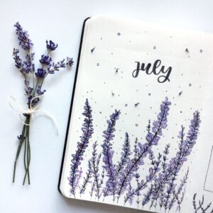 bullet journal floral portada julio
