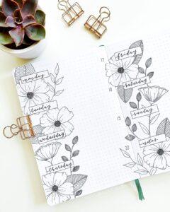 bullet journal floral semana