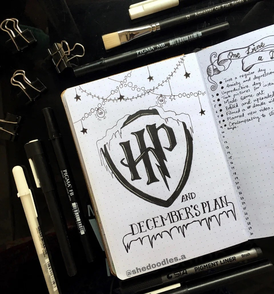 bullet journal harry potter navidad