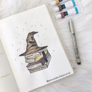 bullet journal harry potter sombrero seleccionador