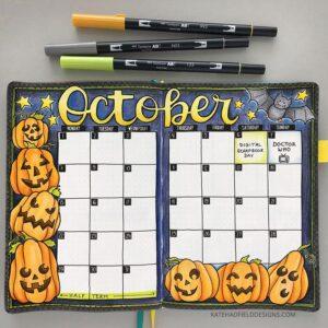 bullet journal halloween vista mensual