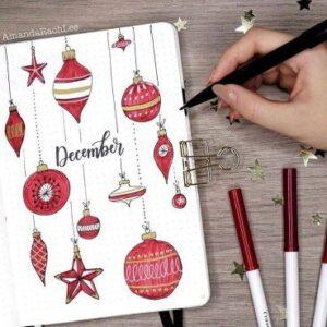 bullet journal navidad decoración