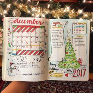 bullet journal navidad vista mensual