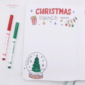bullet journal navidad registro de películas