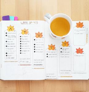 bullet journal otoño semanal hojas
