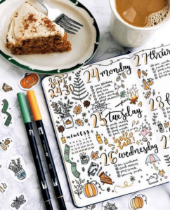 bullet journal otoño registro semanal
