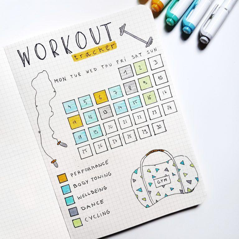 bullet journal registro de ejercicio físico
