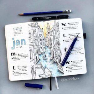 bullet journal viajes idea semanal