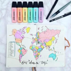 bullet journal viajes mapa