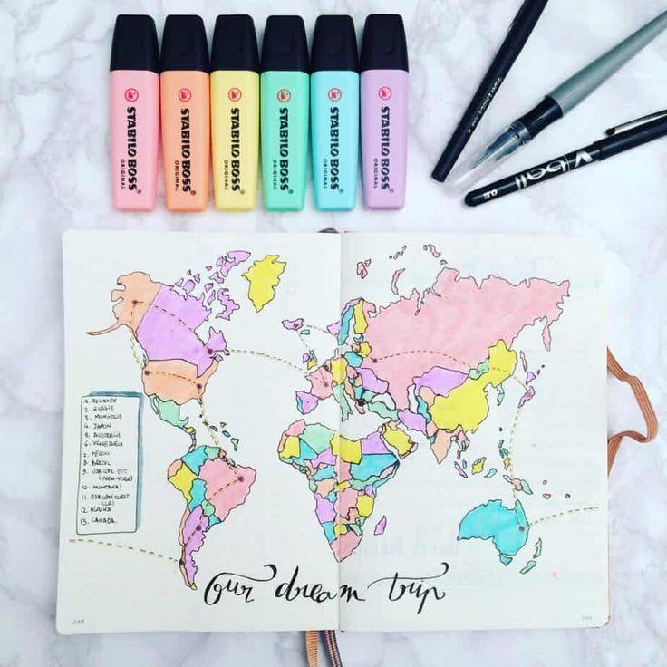 bullet journal viajes mapa